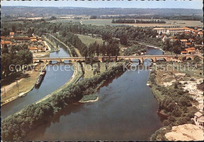 Charmes d Epinal Grand Pont sur le Canal et la Moselle vue aerienne Kat. Charmes