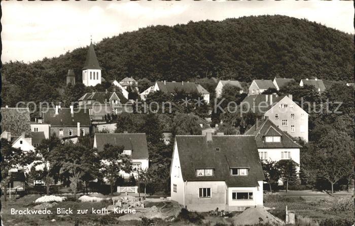 Brackwede Westfalen Ortsblick mit kath Kirche Kat. Bielefeld