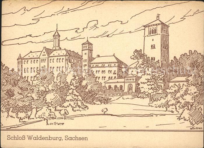 Waldenburg Sachsen Schloss Waldenburg Zeichnung Kat. Waldenburg Sachsen