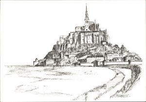 Le Mont Saint Michel Vue generale Dessin Kat. Le Mont Saint Michel