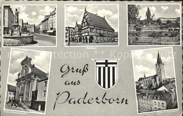 Paderborn Rathaus Franziskanerkirche Dom Kat. Paderborn