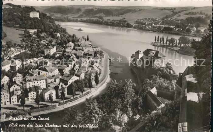 Passau Blick von der Veste Oberhaus auf das Dreifluesse Eck Kat. Passau