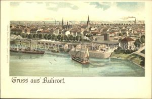 Duisburg Ruhr Hafen Dampfer Segelschiff Litho / Duisburg /Duisburg Stadtkreis