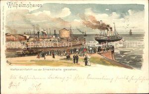 Wilhelmshaven Hafeneinfahrt Dampfer Litho / Wilhelmshaven /Wilhelmshaven Stadtkreis