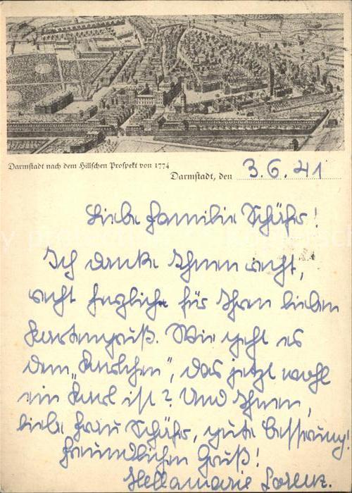 Darmstadt Nach dem Hillschen Prospekt von 1774 / Darmstadt /Darmstadt Stadtkreis