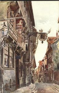 Hildesheim Blick in die Schuhstrasse Aquarell Kat. Hildesheim