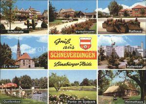 Schneverdingen Evangelische Kirche Schulstrasse Quellenbad Heimathaus Hallenbad  Kat. Schneverdingen