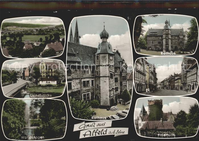 Alfeld Leine Leinebruecke Rathaus Fillerturm  Kat. Alfeld (Leine)