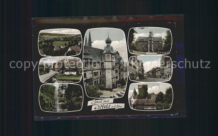 Alfeld Leine Rathaus Leinebruecke Fillerturm Kat. Alfeld (Leine)