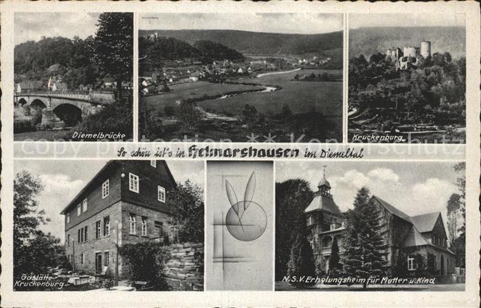 Helmarshausen Kruckenburg Diemelbruecke Gaststaette Kruckenburg Kat. Bad Karlshafen