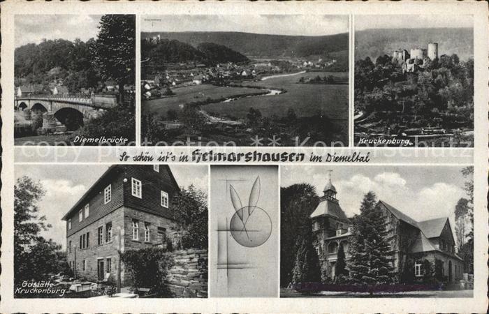 Helmarshausen Kruckenburg Gaststaette Kruckenburg Diemelbruecke Kat. Bad Karlshafen
