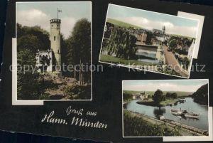 Hannoversch Muenden Dampfer Werrabruecke Aussichtsturm Tillyschanze Kat. Hann. Muenden