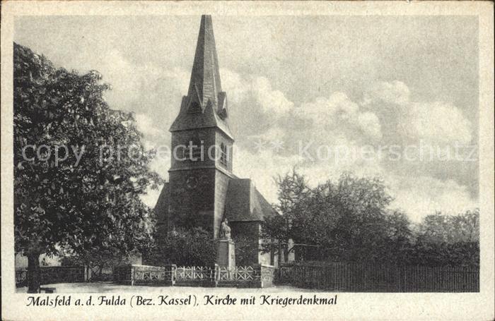 Malsfeld Kirche mit Kriegerdenkmal Kat. Malsfeld