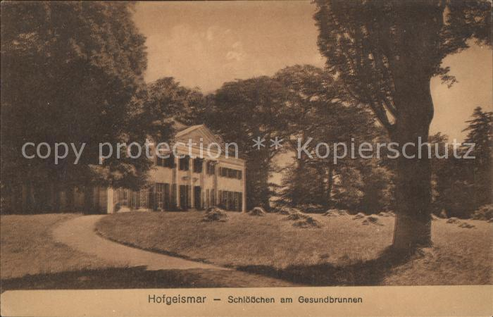 Hofgeismar Schloesschen am Gesundbrunnen Kat. Hofgeismar