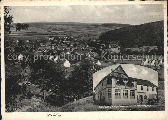 Uschlag Panorama Gasthaus Kolonialwaren Kat. Staufenberg
