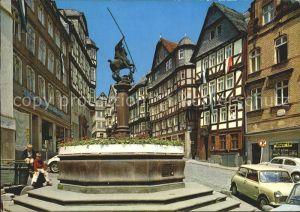 Marburg Lahn Am Markt Fachwerkhaeuser Brunnen Kat. Marburg