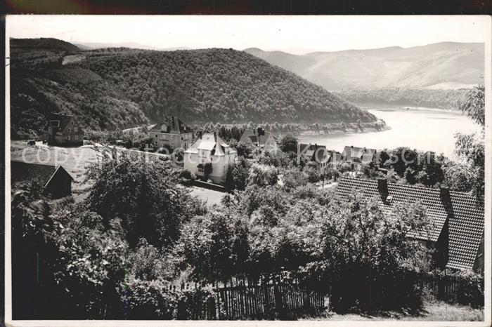 Waldeck Edersee Ortsansicht mit Blick auf den Stausee Edertalsperre Kat. Edertal