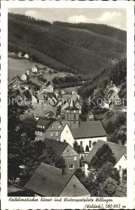 Willingen Sauerland Ortsansicht mit Kirche Kurort Wintersportplatz Kupfertiefdruck Kat. Willingen (Upland)