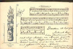 Dresden Liederkarte Glueckwunsch Paul Bayer  Kat. Dresden Elbe