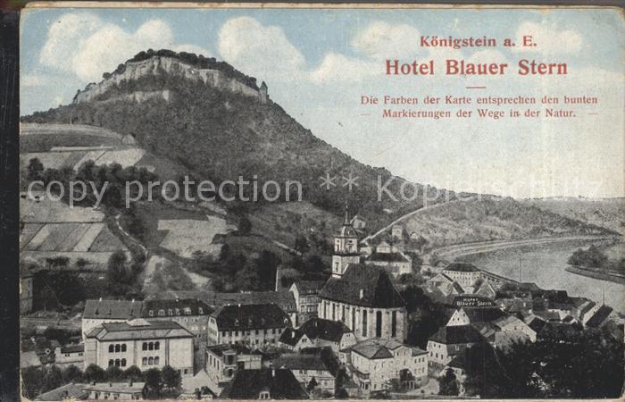 Koenigstein Saechsische Schweiz Hotel Blauer Stern Aufklappkarte Kat. Koenigstein Saechsische Schweiz