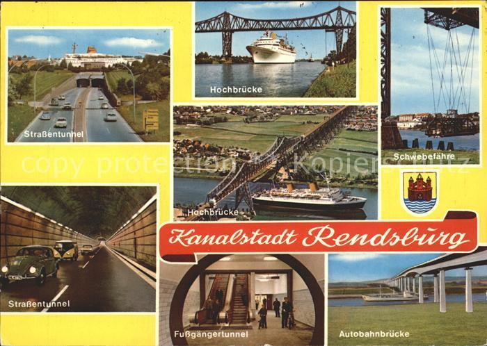 Rendsburg Strassentunnel Hochbruecke Schwebefaehre Fussgaengertunnel Autobahnbruecke Kat. Rendsburg
