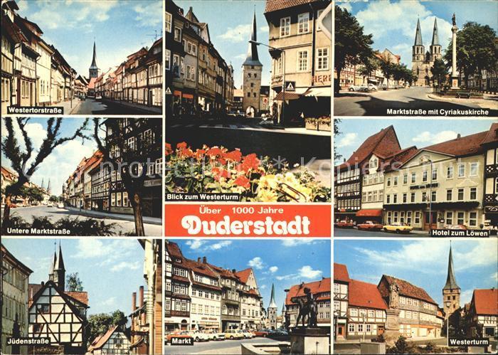 Duderstadt Hotel Loewen Westerturm Marktstrasse Cyriakuskirche Markt  Kat. Duderstadt