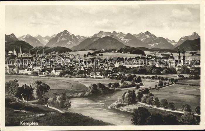 Kempten Allgaeu Gesamtansicht mit Alpenpanorama Bromsilber Kat. Kempten (Allgaeu)