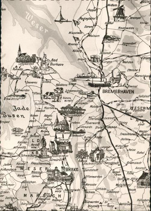 Bremerhaven Landkarte Nord West Deutschland Kat. Bremerhaven