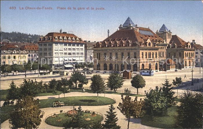 La Chaux de Fonds Place de la Gare Poste Kat. La Chaux de Fonds