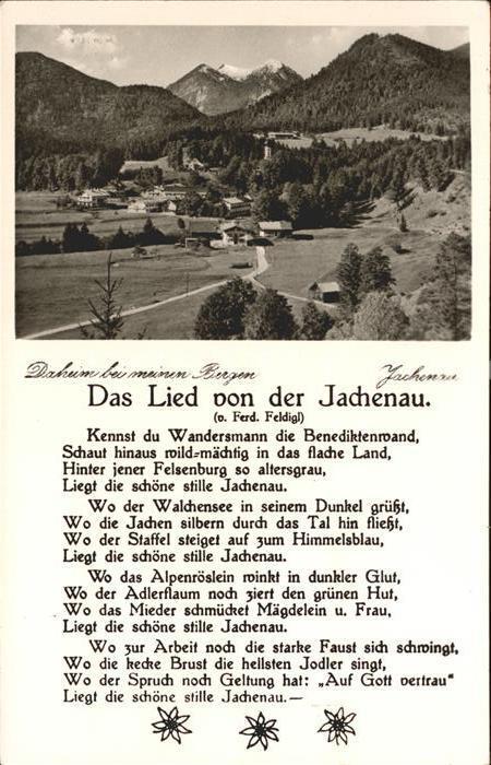 Jachenau das Lied der Jachenau Kat. Jachenau