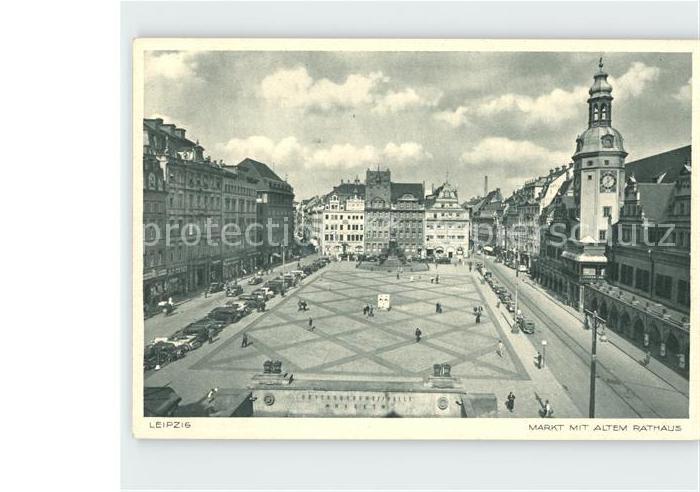 Leipzig Markt mit altem Rathaus Kat. Leipzig