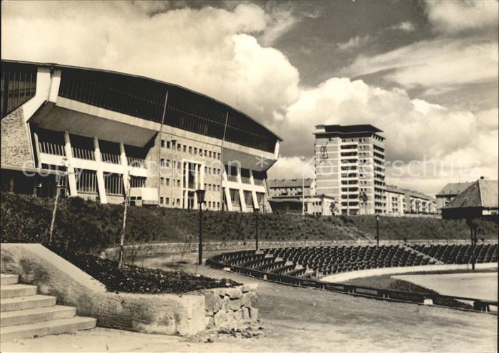 Schwerin Mecklenburg Kongresshalle mit Hochhaus Kat. Schwerin