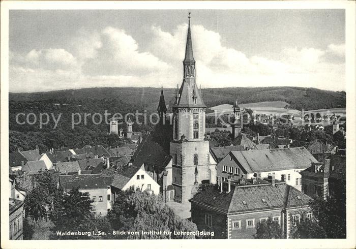 Waldenburg Sachsen Blick vom Institut fuer Lehrerbildung Kirche Kat. Waldenburg Sachsen