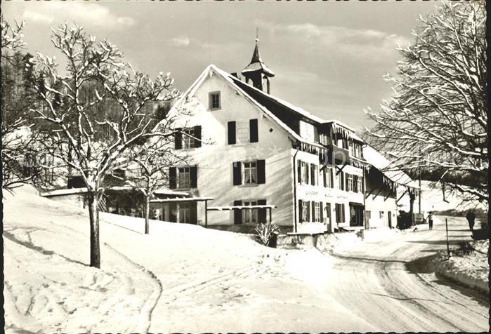 Schlechtbach Schopfheim Gasthof Pension Auerhahn im Winter Hoehenluftkurort Wintersportplatz Schwarzwald Kat. Schopfheim