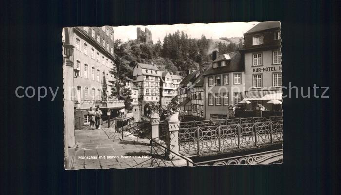 Monschau mit seinen Bruecken und Haller Burgruine Kat. Monschau
