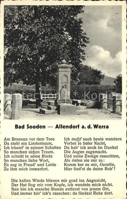 Bad Sooden Allendorf Zimmersbrunnen Alte Linde Volkslied Am Brunnen vor dem Tore von W. Mueller Kat. Bad Sooden Allendorf