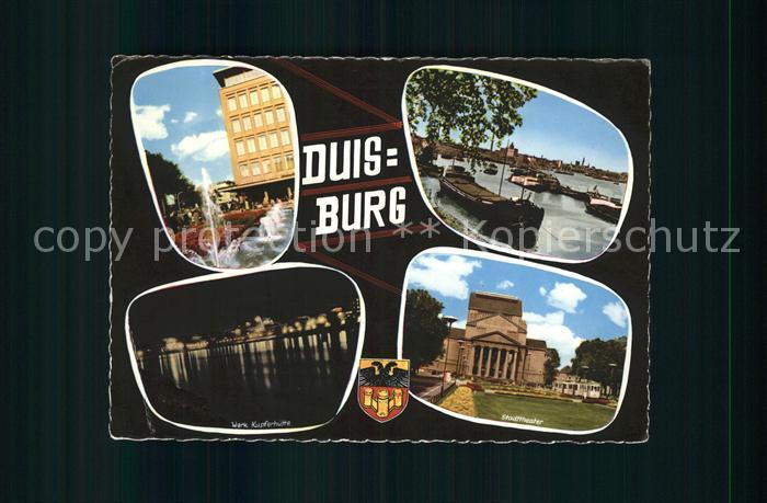 Duisburg Ruhr Werk Kupferhuette Stadttheater Springbrunnen Kahn Binnenschifffahrt Kat. Duisburg