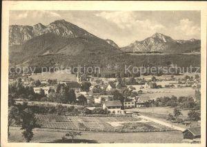 Bergen Chiemgau Gesamtansicht mit Hochfelln und Hochgern Kat. Bergen
