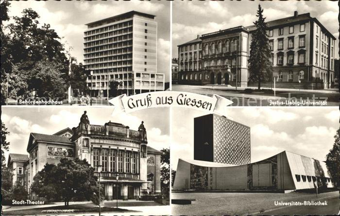 Giessen Lahn Behoerdenhochhaus Justus Liebig Universitaet Stadttheater Uni Bibliothek Kat. Giessen