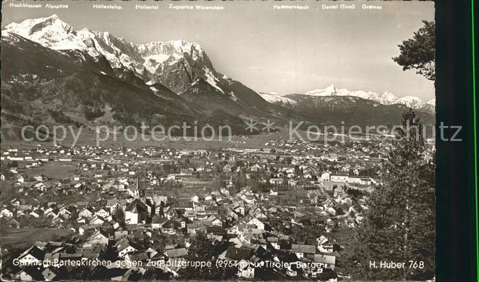 Garmisch Partenkirchen mit Zugspitzgruppe Kat. Garmisch Partenkirchen