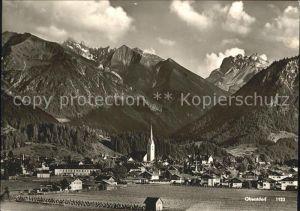 Oberstdorf Ortsansicht mit Kirche Alpenpanorama Kat. Oberstdorf