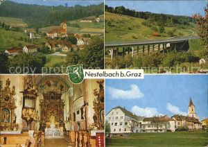 Nestelbach Graz Ortsansicht Autobahnbruecke Kirche Inneres Kat. Nestelbach bei Graz