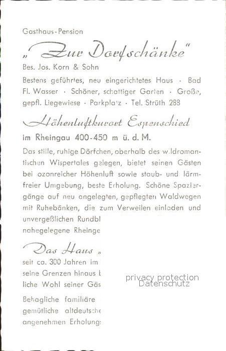Espenschied Gasthaus zur Dorfschaenke Kat. Lorch Nr. kf41386 ...