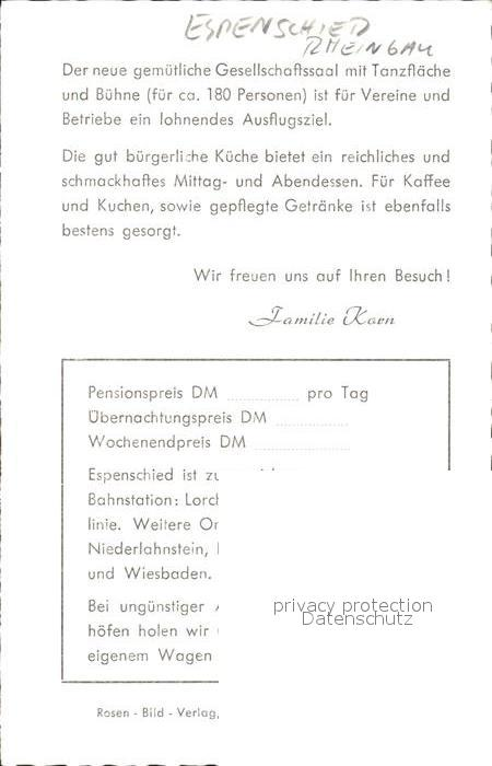 Espenschied Restaurant Dorfschaenke Kat. Lorch Nr. kf41989 ...