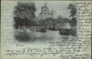 Mannheim Partie im Stadtpark Schloss im Mondschein Kat. Mannheim