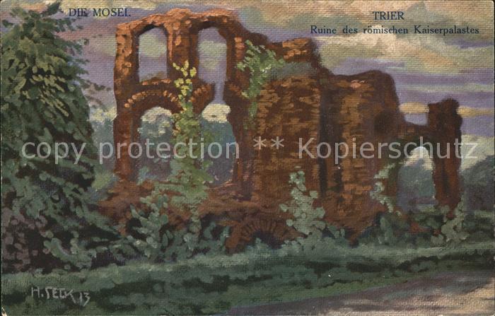 Trier Ruine des roemischen Kaiserpalastes Kuenstlerkarte  / Trier /Trier Stadtkreis