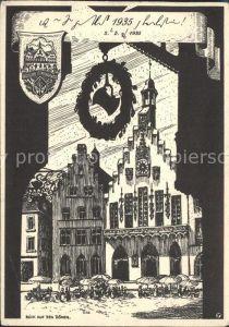 Frankfurt Main Blick auf den Roemer Zeichnung Kat. Frankfurt am Main