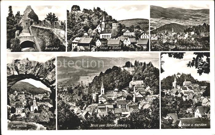 Lindenfels Odenwald Burghof Burgblick Total von Westen und Osten Kat. Lindenfels