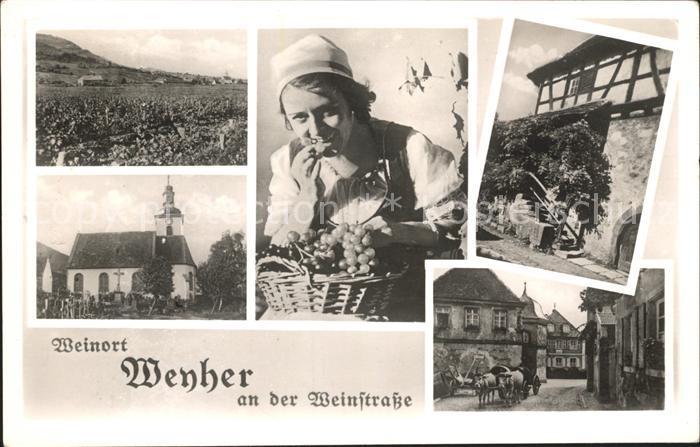 Weyher Pfalz Panorama Kirche Gasthaus zum Loewen Weinlese Ochsengespann Kat. Weyher in der Pfalz