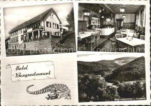 Altweilnau Hotel Burgrestaurant Gaststube Blick zum Weiltal und Treisberg Kat. Weilrod
